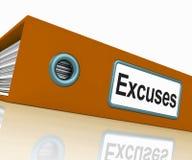 El fichero de las excusas contiene razones y Foto de archivo libre de regalías