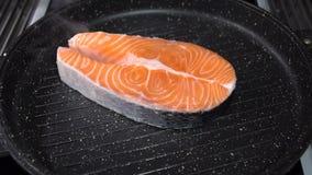 El filete de color salmón frió en una cacerola Cámara lenta metrajes