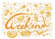 El fin de semana planea los símbolos - vector del garabato Imágenes de archivo libres de regalías