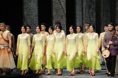 El final de la llamada- de la cortina del actor de los eventos del drama-Shawan de la danza del pasado Imagen de archivo
