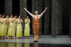 El final de la llamada- de la cortina del actor de los eventos del drama-Shawan de la danza del pasado Foto de archivo