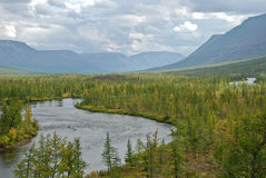 El valle del río Mikchangda. Fotografía de archivo libre de regalías