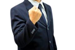 El fisting del hombre de negocios listo para luchar fotografía de archivo libre de regalías