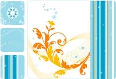 El floral-copo de nieve retro fijó 2 Imagen de archivo libre de regalías