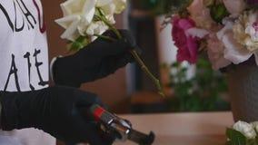 El florista hermoso de la muchacha hace la composición floral y sonríe Negocio de la flor Florista de sexo femenino que hace el r almacen de metraje de vídeo