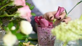El florista saca de un florero, los brotes de flores con los troncos cortos almacen de video