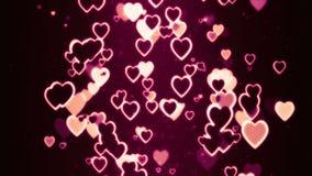 El fluir retro colorido de los corazones al azar stock de ilustración