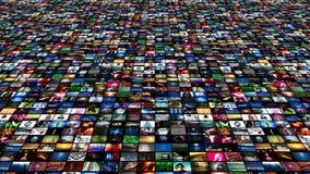 El fluir video de los medios de la pared (animación del lazo 4K)