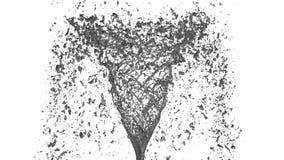 El flujo de líquido del metal hace girar en un torbellino o un tornado El flujo de líquido del metal gira y forma un tornado en l almacen de metraje de vídeo