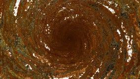 El flujo de líquido del oro hace girar en un torbellino o un tornado El flujo de líquido del metal gira y forma un tornado en len metrajes