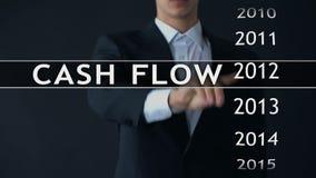 El flujo de liquidez para 2014, hombre de negocios selecciona informe financiero sobre la pantalla virtual almacen de metraje de vídeo