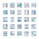 El flujo del sitio, marco del alambre, iconos planos de los equipos de UI embala ilustración del vector