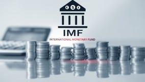 EL FMI Fondo Monetario Internacional Finanzas y concepto 2 de la actividad bancaria imagen de archivo