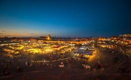 EL-Fnaa de Jemaa, cuadrado y mercado en Marrakesh, Marruecos Imágenes de archivo libres de regalías