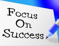 El foco en éxito significa los vencedores triunfantes y Triumph Imagenes de archivo