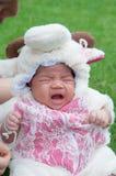 El foco en el bebé recién nacido asiático con las pequeñas ovejas de los trajes en el jardín y la madre la está deteniendo Foto de archivo libre de regalías