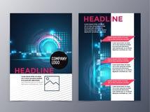 El folleto del negocio y de la tecnología diseña el vector de la plantilla triple Fotografía de archivo libre de regalías