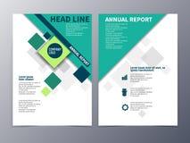 El folleto del negocio y de la tecnología diseña el vector de la plantilla triple Imágenes de archivo libres de regalías