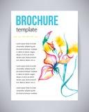 El folleto y el aviador, plantilla del vector del cartel con el iris hermoso abstracto del rosa de la flor de la acuarela, salpic Imagen de archivo libre de regalías