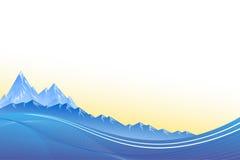 El fondo abstracto ajardina puesta del sol del azul de las montañas Fotos de archivo libres de regalías