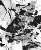 El fondo abstracto blanco y negro pintado a mano con la pintura salpica stock de ilustración