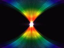 El fondo abstracto con el arco iris alinea entrelazar en un centro que brilla intensamente, ilustración del vector