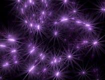 El fondo abstracto con la lila brilló las estrellas encendido Imagen de archivo libre de regalías