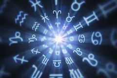El fondo abstracto de la astrología con el zodiaco firma adentro el círculo 3D rindió la ilustración ilustración del vector