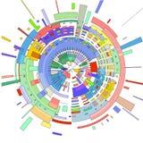 El fondo abstracto de la parte radial 3 D se compone de líneas coloridas y de formas geométricas libre illustration