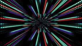 El fondo abstracto de la tecnología con la cámara lenta de la animación de la luz raya verde púrpura rojo del círculo del punto stock de ilustración