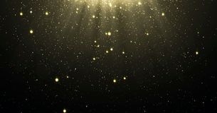 El fondo abstracto de las partículas del brillo del oro con las estrellas brillantes que caían abajo y llamarada ligera o resplan imagen de archivo libre de regalías