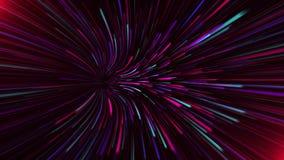 El fondo abstracto del universo con la deformación de la creatividad en otras galaxias la velocidad de la luz, la luz de neón bri ilustración del vector