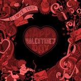 El fondo adornado de la tarjeta del día de San Valentín roja y negra del vector Fotos de archivo libres de regalías