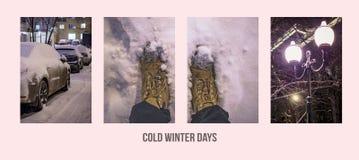 El fondo al aire libre de la bandera del collage del concepto del paseo del invierno con la ciudad magnífica del bosque parquea l fotos de archivo