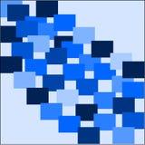 El fondo azul abstracto con el azul coloreó ligero y los cuadrados oscuros se presentan en filas Foto de archivo