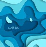 el fondo azul abstracto de la onda 3D con el papel cortó formas Vector la disposición de diseño para las presentaciones del negoc Foto de archivo