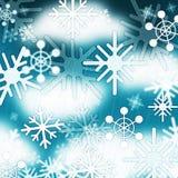 El fondo azul de los copos de nieve significa el cielo congelado y el invierno Foto de archivo libre de regalías