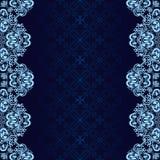 El fondo azul marino adornó una frontera azul. Imagen de archivo