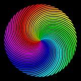 El fondo bajo la forma de esfera coloreada de rayos giró sobre un espiral ilustración del vector