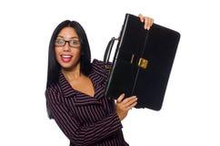 El fondo blanco aislado concepto de la empresaria de la mujer Imágenes de archivo libres de regalías
