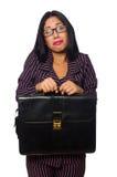 El fondo blanco aislado concepto de la empresaria de la mujer Imagen de archivo