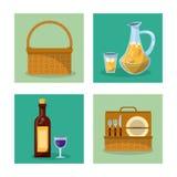 El fondo blanco con los marcos de los elementos de la comida campestre con el sistema de la cesta de la comida campestre y de la  Imágenes de archivo libres de regalías