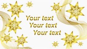 El fondo blanco hermoso con oro agita y protagoniza 3 Fotografía de archivo libre de regalías