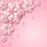 El fondo blando floral con 3d cortó las flores rosadas de papel Imagenes de archivo