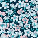 El fondo ciánico azul marino del vector con la flor de cerezo azul clara y roja clara Sakura florece el fondo inconsútil del mode ilustración del vector