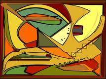 El fondo colorido abstracto, las formas geométricas y curvadas de lujo ponen verde la naranja 17-255 Fotografía de archivo libre de regalías
