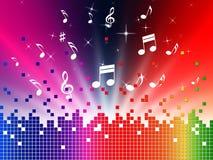 El fondo colorido de la música muestra los sonidos Jazz And Harmony Fotografía de archivo