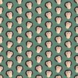 El fondo colorido inconsútil hizo las cabezas de monos en el DES plano Foto de archivo libre de regalías