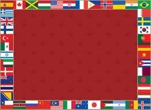 El fondo con el mundo señala el marco por medio de una bandera Fotos de archivo libres de regalías