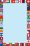 El fondo con el mundo señala el marco por medio de una bandera Fotos de archivo
